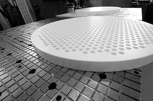PTFE finished products: perforated disc made by TEKU GmbH